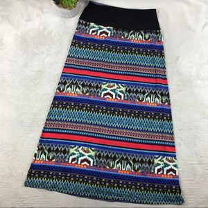 Women with Control Multi Print Color Maxi Skirt